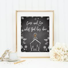 Check out this item in my Etsy shop https://www.etsy.com/listing/259363071/christmas-wall-art-come-and-see-what-god