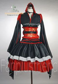Lolita Waloli Cosplay Gothic Punk Phantom Bat Layer Corset Kimono Choker Dress R