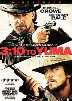 3:10 to Yuma [PN1995.9.W4 T47448 2008]  A small-time rancher agrees to hold a captured outlaw who's awaiting a train to go to court in Yuma. A battle of wills ensues as the outlaw tries to psych out the rancher. Director: James Mangold Writers: Halsted Welles (screenplay), Michael Brandt (screenplay) Stars: Russell Crowe, Christian Bale, Logan Lerman