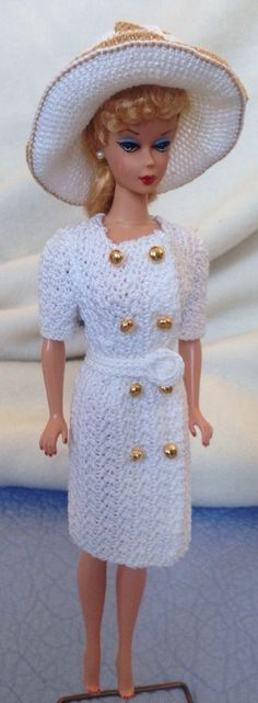 Lovely Crocheted Barbie Dress And Hat Vintage Or New Dolls
