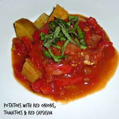 Potatoes with Red Onions, Tomatoes & Red Capsicum