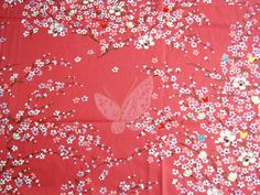 Japanese Kimono Cotton Fabric Lovely Pink White Blue Sweet Sakura Butterfly, kimono fabric, gift for her, ipad case, quilt. $6,85, via Etsy.