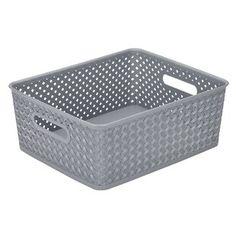 Simplify 14 in. Medium Resin Wicker Storage Bin in - The Home Depot Fabric Storage Bins, Tote Storage, Plastic Storage, Storage Boxes, Wicker Mirror, Wicker Shelf, Wicker Baskets, Wicker Dresser, Wicker Purse
