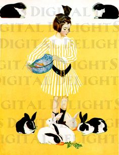 Bright Yellow Spring Bunnies. VINTAGE Rabbit Illustration. Bunny Digital Download. Coles Phillips Print via Etsy