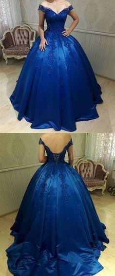 Royal Blue, Satin ,Ball Gowns ,Wedding Dresses, V Neck, Off-the-shoulder ,Prom