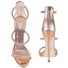 Giuseppe Zanotti Women's Coline Strappy Crystal Sandals (2.729.350 COP) ❤ liked on Polyvore featuring shoes, sandals, heels, monk-strap shoes, clear heel sandals, rose gold metallic shoes, clear sandals and zipper sandals