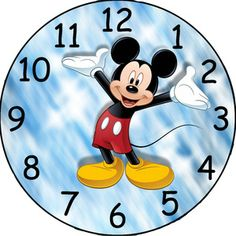 this listing is for a image to be emailed to you. i created the clock face using photo editing software. make a custom clock for a favorite grandkid or child. any questions please ask. Mickey Mouse Clock, Disney Clock, Mickey Mouse Classroom, Disney Classroom, Mickey Minnie Mouse, Clock Face Printable, Clock Clipart, Image Mickey, Clock Template
