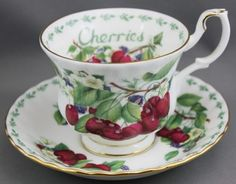 Royal Albert Tea Cup and Saucer with Cherries motif.