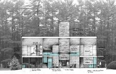 Olson Kundig Architects - Projects - Wolfeboro Residence Section Drawing, Plan Sketch, Architectural Sketches, Architecture Plan, Out Of This World, Modern Buildings, Drawing Sketches, Layout Design, Competition