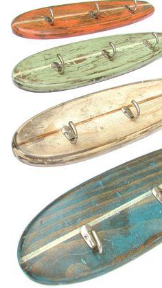 Rustic Weathered Surfboard Coat Rack Towel Rack or Hat Rack