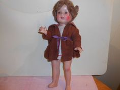 """Vintage 16"""" SHIRLEY TEMPLE (unmarked) Composition DOLL, HAS CRACKING #doll"""