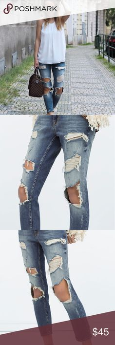 ZARA RIPPED CIGARETTE JEANS New with tags  Size US 8  * Bundle and save! Any pair of jeans that are listed with a * can be bundled. All my jeans range from 8-10. Willing to let them go for super cheap so bundle! ALL JEANS ARE EITHER WORN ONCE OR NEVER WORN. Zara Jeans