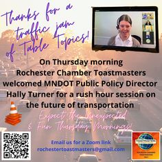 A Sunday Salute to Rochester Chamber #Toastmasters special Thursday guest, who brought a traffic jam of Table Topics #d6tm #rochmn #rochestercvb #rochester_mn #minnesotas_rochester #rochmnchamber #becauserochester #dmcmn #mndot Thursday Morning, Sunday, Table Topics, Friday Funnies, Rush Hour, Presentation, Bring It On, Thankful, Domingo