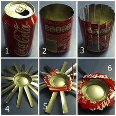 Reciclado portavelas realizado con latas de coca cola - Reciclar latas de refresco ...