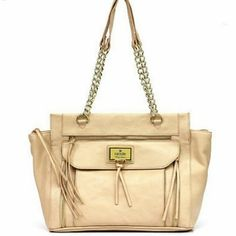 "Nicole Miller Tote Nicole Miller tote ~ almond color ~ partial chain handles with 10 3/4"" drop ~ gold hardware ~ 10 1/4"" x 17 1/4"" x 6 1/2""  E350922 Bags Totes"