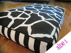 Reversible Dog Bed Cover - Black and White Giraffe/Zebra - Size Medium (28x36x4) - Stuff with 4 standard-size bed pillows. $50.00, via Etsy.
