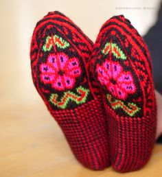Knit slipper socks, stockings, ornaments - Azerbaijan by AzerbaijaniSocks Knitted Slippers, Slipper Socks, Fair Isle Pattern, Fair Isle Knitting, Old Women, Knits, Ps, Knit Crochet, Favorite Things