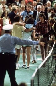 Billie Jean-King defeats Bobby Riggs in the 1973 Battle of the Sexes and forever changes the course of equality for women sports, creating the WTA, WTT, Title XI and The Womens Sport Foundation. Remarkable! -Venus
