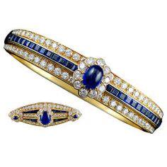 VAN CLEEF & ARPELS Diamond Sapphire Bangle & Pin 1960's