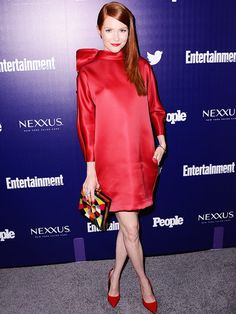 Your Favorite TV Stars Were Partying with PEOPLE & EW on Monday Night | AT THE RED-Y | Another Scandal starlet, Darby Stanchfield, is bold and beautiful in a bow-topped red frock and deco-style clutch.