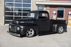 This 1950 Ford Pickup has a Fuel Injected 3 Speed Automatic Transmission, Custom Matte Black Paint, Black Leatherette Interior, Mustang II Front. Pickup Trucks For Sale, Classic Pickup Trucks, Ford Classic Cars, 1948 Ford Truck, Old Ford Trucks, Bagged Trucks, Hot Rods, Auto Retro, Vintage Trucks