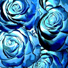 "Saatchi Online Artist TOULA MAVRIDOU-MESSER; Photography, ""NEW Photographic Art Print For Sale: Pop Art Blue Roses Square"" #art"