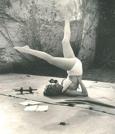 Vintage fit! Marilyn having a workout.