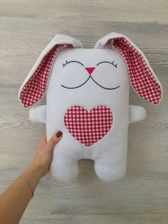 Thank you for visiting our store! We offer you an adorable high-quality plush toy pillow of rabbit in love named Bugsy. The toy is sewed from Sewing Projects For Beginners, Sewing Tutorials, Applique Pillows, Sock Toys, Sewing Room Organization, Sewing Dolls, Animal Pillows, Perfect Pillow, Stuffed Animal Patterns