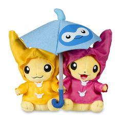 Official Paired Pikachu Celebrations Plush. Includes felt umbrella for two and slick raincoats. Pokémon Center Original design.