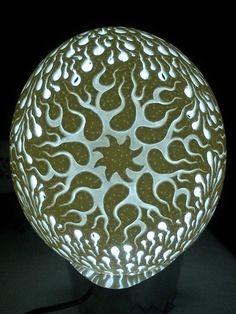 Eggshell Carving Art | ... de Ovos - Escultura em casca ovo - Egg Carving: Avestruz - Metamorfose