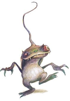 Paige: This is a similar design to Fitz, in my opinion. A long spindly head; and a big head; walks on two feet and has claw-like hands. However this creature resembles more of a frog than a goblin.