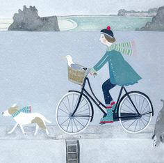 'Along The Harbour Wall' By Painter Mani Parkes. Blank Art Cards By Green… Dog Beach, Beach Art, Cycling Art, Cycling Quotes, Cycling Jerseys, Bike Art, Cute Illustration, Fabric Painting, Dog Art