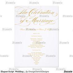 Elegant Script  Wedding Program - Gold