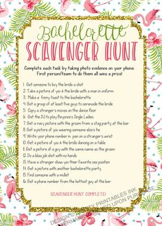 Instant download bachelorette game. Make sure all the bachelorette guests have a fun & crazy night with this fun flamingo bachelorette scavenger hunt! Guaranteed to get everyone laughing, drinking and having a great time!