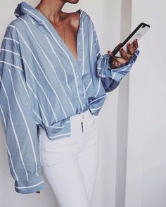 fashion | style | white pants and blue shirt outfit | ootd | oversized shirt | summer fashion | summer ootd |