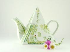 Hand painted Porcelain Teapot with Lovely by MorphoBleuPorcelaine