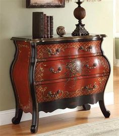 Iden Red Black Wood Bombay Chest