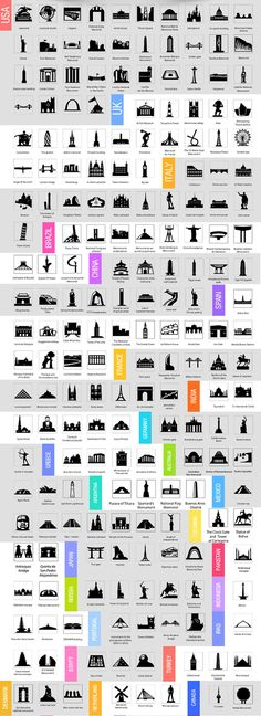 250 Free World Monuments Icon Pack #flatdesign #uikits #freeicons #psdtemplates
