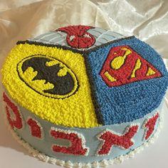 Superhero cake - Spider-Man, batman & superman. Piping with whipped cream. By Sharon Moshe