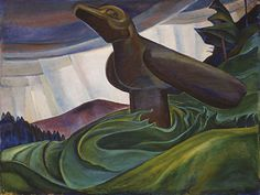 """""""Big Raven"""" by Emily Carr (1931). I have always enjoyed this painting. The whole flow and movement of the piece has a certain mysticism to it. The hints o of light and shadows just add to the spiritual sense that Carr is putting into this piece."""