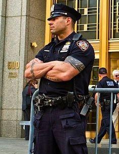 cops-gotta love a man in uniform Cop Uniform, Men In Uniform, Muscle Hunks, Muscle Men, Hot Cops, Police Life, Raining Men, Poses, Dress For Success