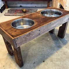Reclaimed wood/pallet wood custom dog bowl stand