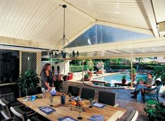 Exhibiting a strong presence & style, the pitched roof of an Outback Gable Verandah, Patio &Carport is endowed with an open feel that will enrich your home Outdoor Pergola, Outdoor Rooms, Outdoor Living, Gable Roof Design, Flat Roof, Garage Plans, Pergola Designs, Outdoor Projects, Patio Ideas