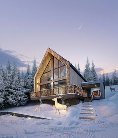 House in the Mountains on Behance Mountain Cottage, Mountain Homes, Cabins In The Woods, House In The Woods, Houses On Slopes, Houses In The Mountains, Different Types Of Houses, Chalet Style, Winter House