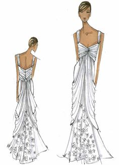 inspiration to reality / Vera Wang's White Collection - the sketches and the dresses White By Vera Wang, Dress Drawing, Bridal Musings, Fashion Design Sketches, Formal Dresses, Wedding Dresses, Fashion Art, Beautiful Dresses, Dress Up