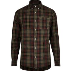 River Island Green tartan Oxford shirt ($32) ❤ liked on Polyvore featuring men's fashion, men's clothing, men's shirts, men's casual shirts, shirts, mens tartan shirt, men's regular fit shirts, mens button down collar shirts, mens checkered shirts and mens button front shirts