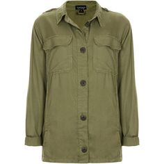 TOPSHOP Lightweight Shirt Jacket ($26) ❤ liked on Polyvore featuring outerwear, jackets, tops, shirts, coats, khaki, shirt jacket, topshop, khaki jacket and green jacket