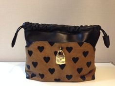BURBERRY Little crush in heart print calf skin and leather