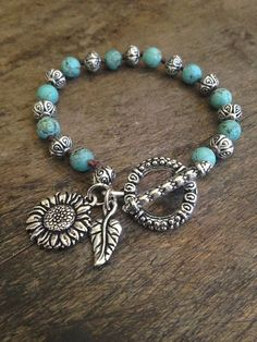 """Sunflower Love Hand Knotted Bracelet """"Beach Chic"""" Turquoise, Bohemian Jewelry by TwoSilverSisters on Etsy Bohemian Jewelry, Wire Jewelry, Beaded Jewelry, Jewelry Bracelets, Jewelery, Jewelry Logo, Jewelry Findings, Jewelry Accessories, Jewelry Design"""