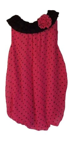 Baby Essentials Girls Pink Polka Dot Bubble Romper 24 Month. Neck line would make it Cute at Christmas Time.